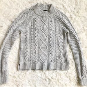 J. Crew Gray Chunky Cable Knit Popcorn Sweater